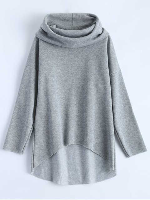 Gray Cowl Neck Simple Sweatshirt