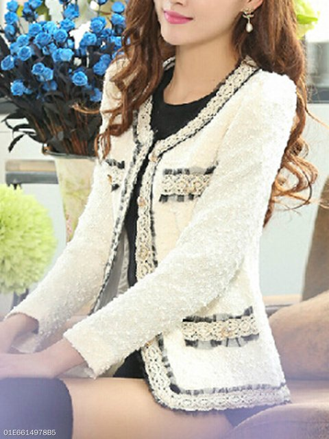 Collarless  Contrast Trim Decorative Lace Single Breasted  Plain Blazers