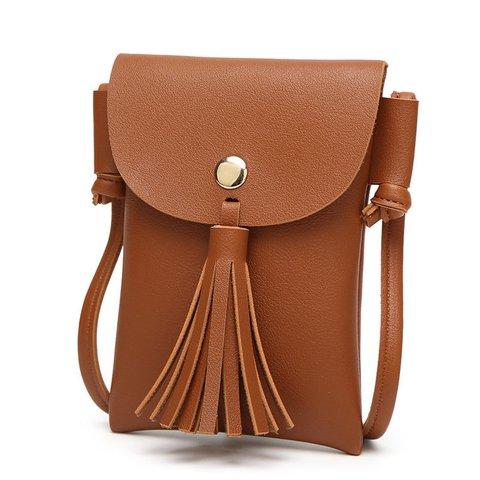 Women Tassel 5.5inch Phone Bag PU Leather Crossbody Bags