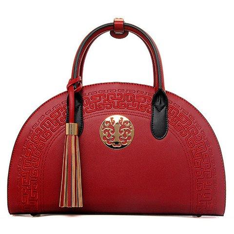 National Style Semicircle Gold-tone hardware Elegant Handbag