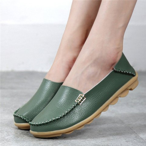 Big Size Soft Leather Pure Color Metal Slip On Comfortable Lazy Flats