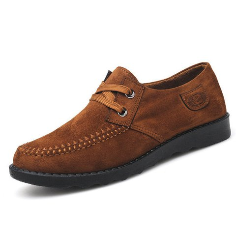 Men Old Peking Style Flat Lace Up Casual Shoes
