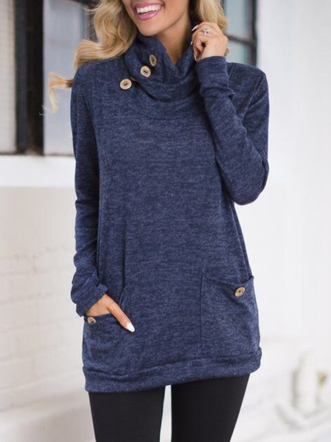 Sheath Pockets Cowl Neck Long Sleeve Buttoned Sweatshirt