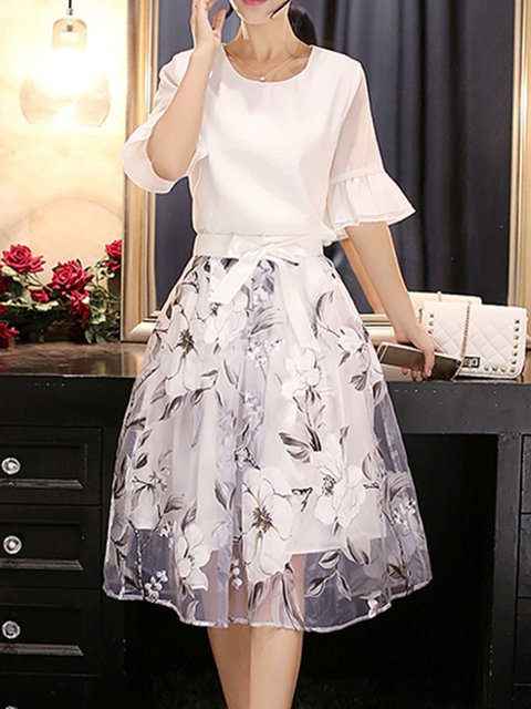 White Women Daytime Chiffon Bell Sleeve Elegant Bow Floral Elegant Dress