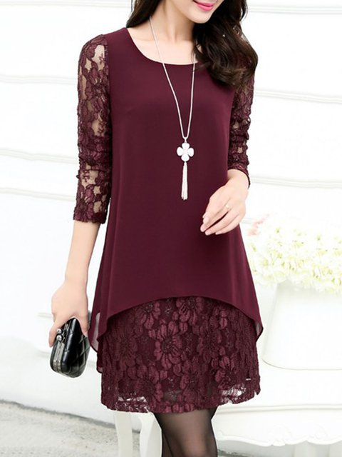 Burgundy A-line Women Going out Long Sleeve Elegant Paneled Floral Elegant Dress