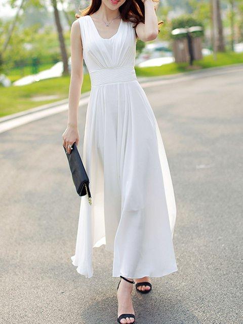 V neck  Swing Women Beach Sleeveless Holiday Chiffon Solid Elegant Dress