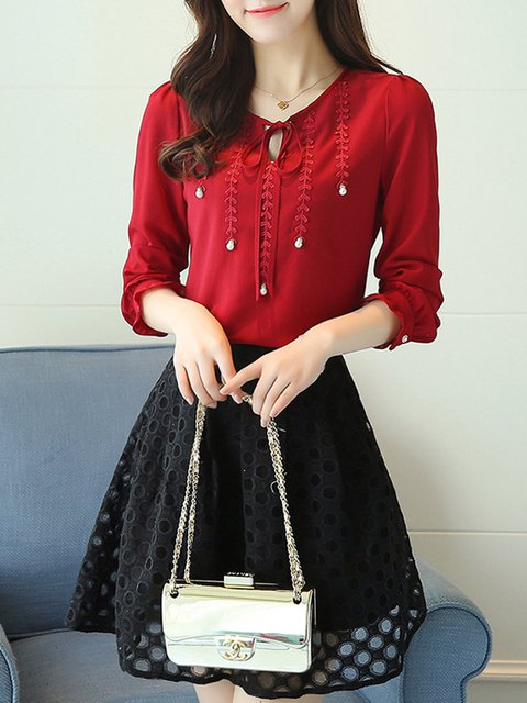 Red Long Sleeve Crew Neck Beaded Blouse
