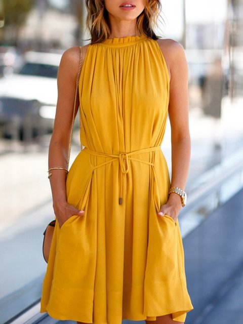 Yellow Women Holiday Holiday Sleeveless Pockets Solid Summer Dress