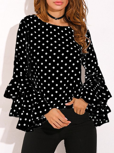 Casual Frill Sleeve Polka Dots Blouse
