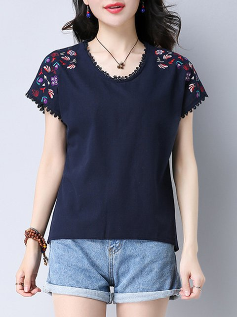 Floral Embroidered Crew Neck Casual Linen T-Shirt