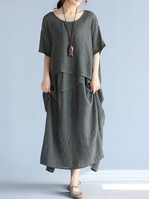Women Linen Casual Half Sleeve Tiered Solid Casual Dress