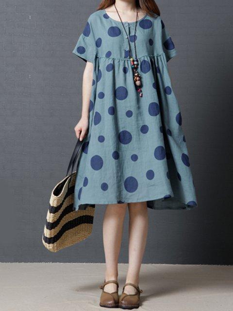 Blue A-line Women Daytime Short Sleeve Casual Cotton Pockets Polka Dots Casual Dress