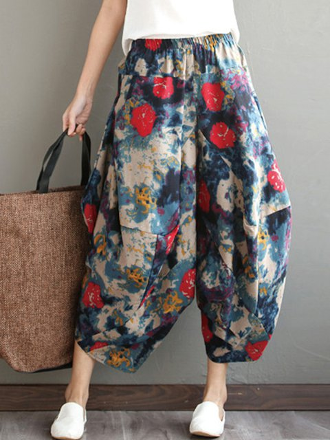 Multicolor Vintage Style Floral Cocoon Printed Pants