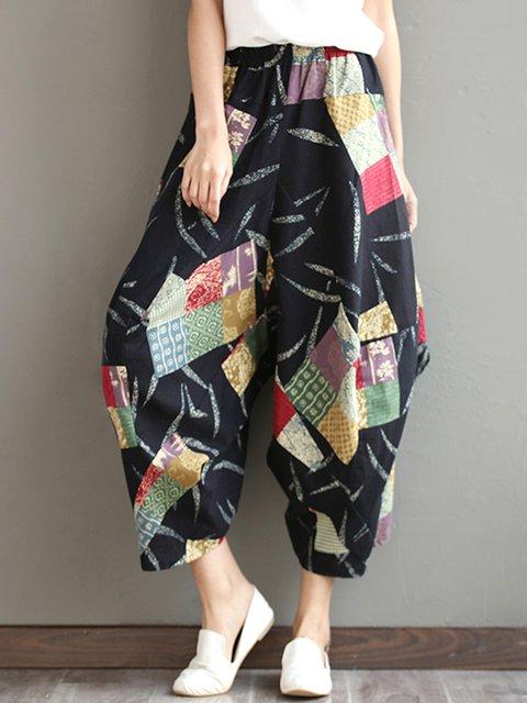 Multicolor Patchwork Vintage Style Pants