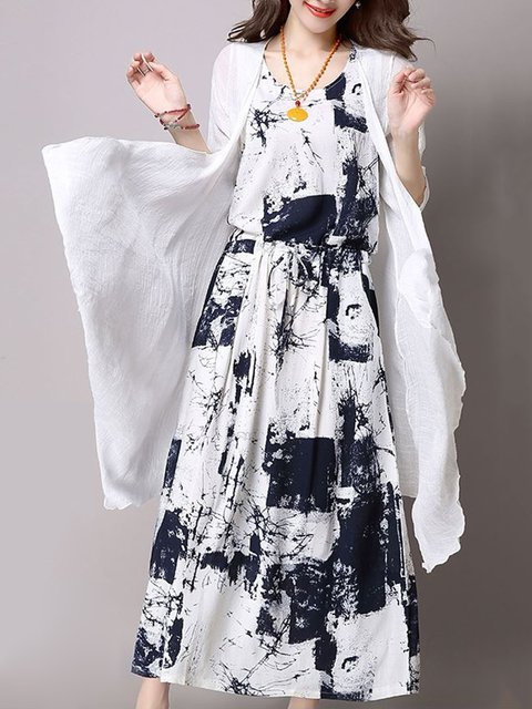 Dark blue Two Piece Women Daily Cotton 3/4 Sleeve Abstract Casual Dress
