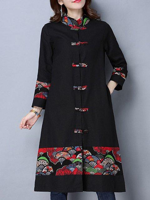 Black Buttoned Vintage Graphic Long Coat