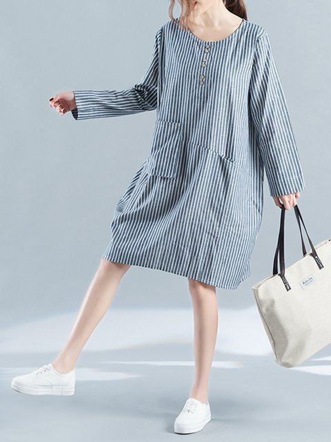 Blue Shift Women Daily Long Sleeve Cotton Casual Pockets Striped Casual Dress