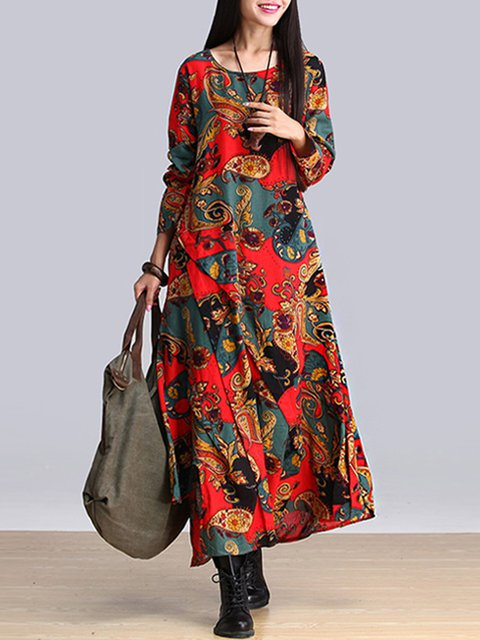 Asymmetrical Women Daily Cotton Long Sleeve Casual Tribal Casual Dress