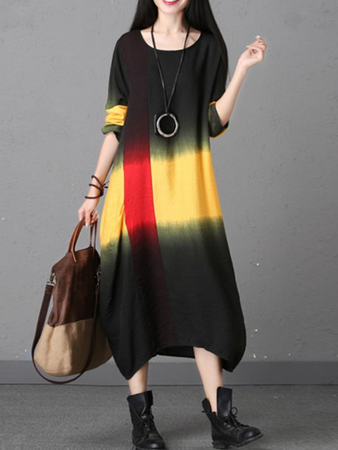 Cocoon Women Daytime Long Sleeve Casual Linen Gradient Ombre/Tie-Dye Casual Dress