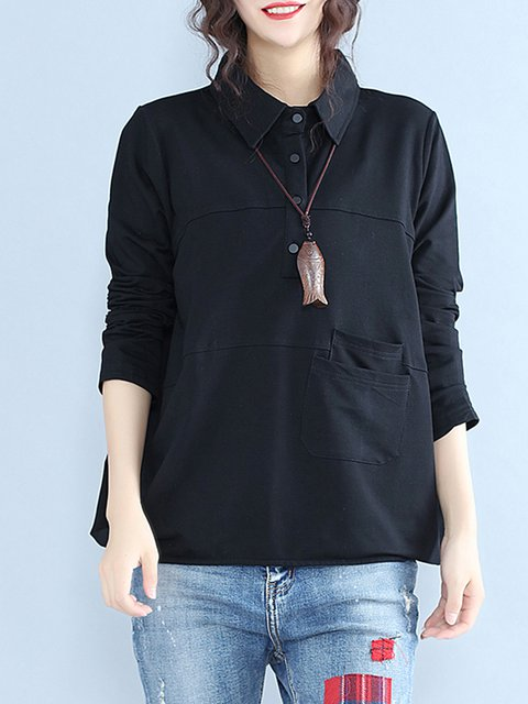 Black Long Sleeve H-line Plain Blouse