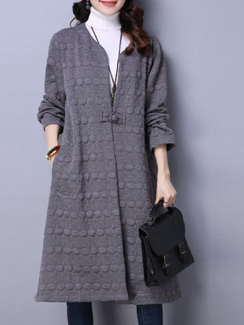 Gray Long Sleeve Embossed Solid Coat