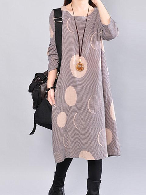 Women Daily Cotton Long Sleeve Pockets Geometric Casual Dress