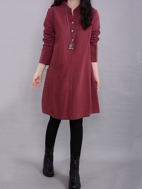 Stand Collar  Shift Women Daily Cotton Long Sleeve Buttoned Solid Casual Dress