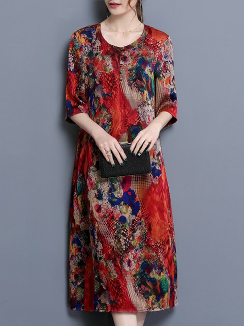 Shift Women Daily Half Sleeve Casual Floral Elegant Dress