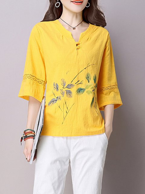 Floral 3/4 Sleeve V neck Linen Printed Buttoned Blouse