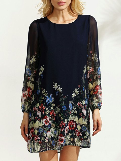 Navy Blue Shift Women Daily Long Sleeve Casual Floral Dress