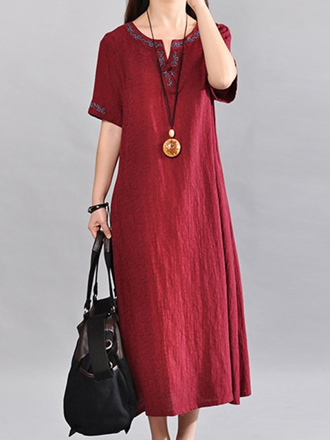 V neck  A-line Women Daily Half Sleeve Vintage Embroidered Plain Casual Dress
