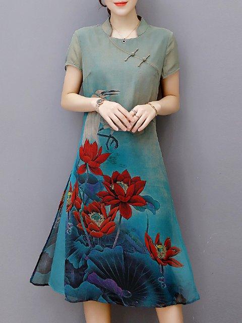 Stand Collar Blue Women Daily Vintage Short Sleeve Slit Floral Elegant Dress
