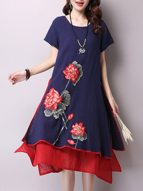 Navy Blue Asymmetrical Women Daytime Vintage Short Sleeve Cotton Floral Elegant Dress