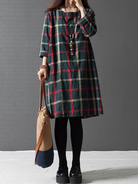 Dark Green A-line Women Daytime Linen Long Sleeve Buttoned Checkered/Plaid Casual Dress