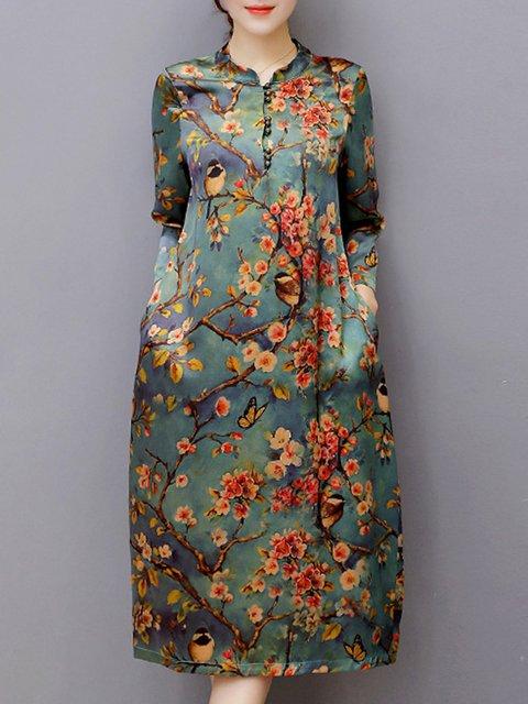 Stand Collar Multicolor Women Daytime 3/4 Sleeve Vintage Buttoned Floral Elegant Dress
