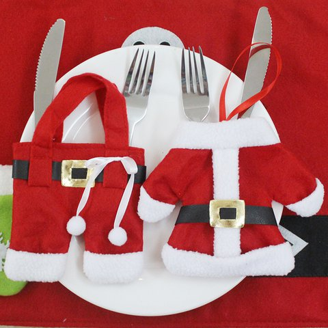 Home Decoration hot sale 2pcs/4Pcs /6pcs cute Christmas Decorations Santa Silverware Holders Pockets Dinner Decor(not include cutlery)