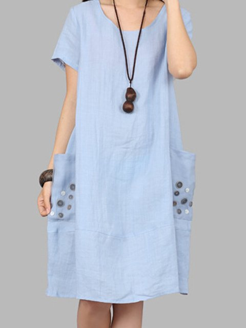 Light blue Cocoon Women Daily Linen Short Sleeve Pockets  Casual Dress