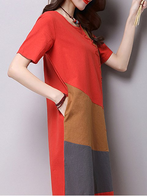 Casual Sleeve Casual Paneled Women Daily Red Dress Short SUqYAWw