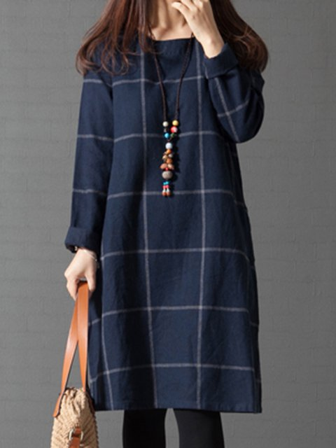 5c00cb2a77e9 Navy Blue A-line Women Daily Casual Long Sleeve Linen Checkered/Plaid  Casual Dress