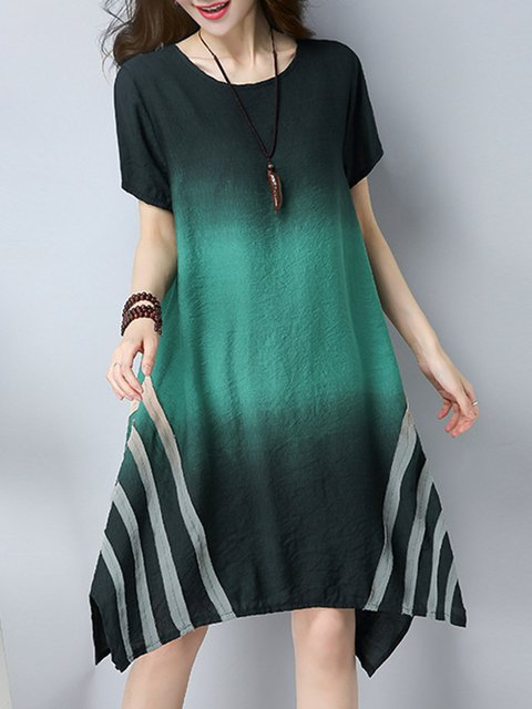 Green Asymmetrical Women Daily Cotton Casual Short Sleeve Gradient Casual Dress