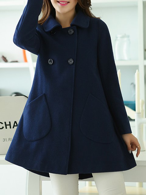 Navy Blue Long Sleeve H-line Pea Coat