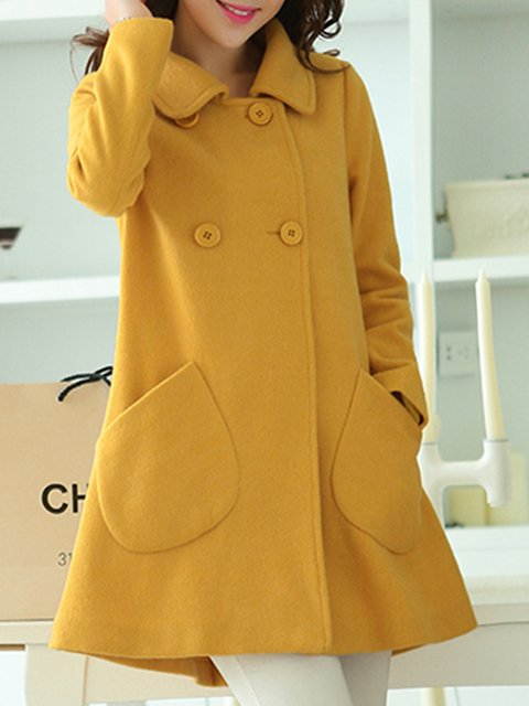 Pockets Shawl Collar Casual Long Sleeve Coats