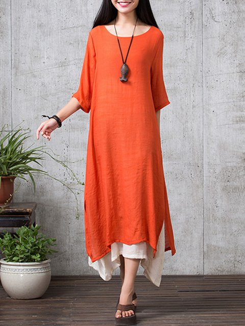 Shift Women Daily 3/4 Sleeve Casual  Solid Casual Dress