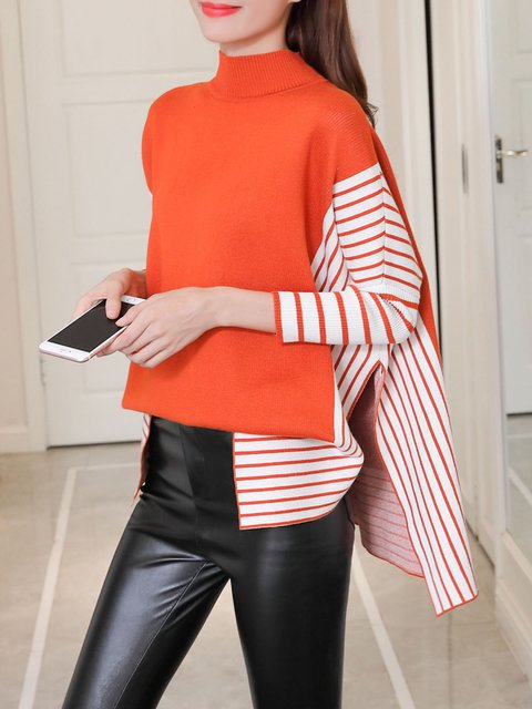 Coral Stripes Casual Turtle Neck Knitted Sweater