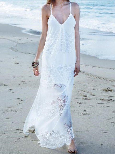 V neck  Swing Women Beach Lace Spaghetti Slit Summer Dress
