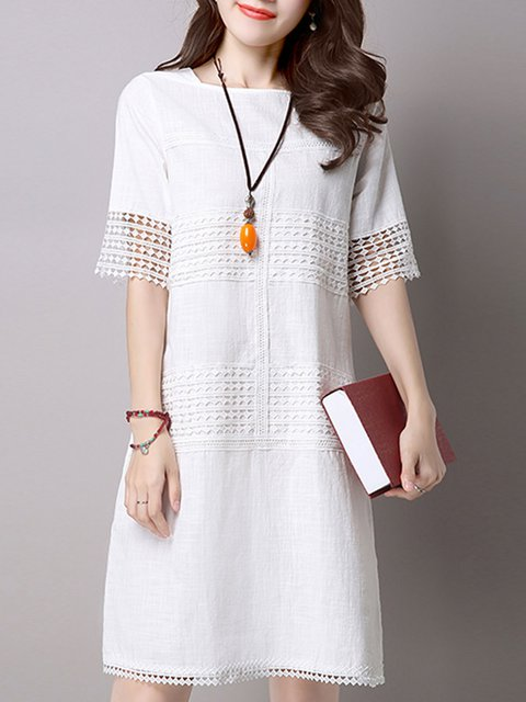 ivory A-line Women Going out Short Sleeve Casual Linen Paneled Casual Dress