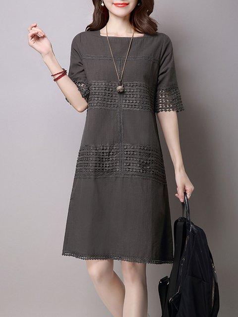 Gray A-line Women Daily Short Sleeve Linen Casual Paneled Plain Casual Dress