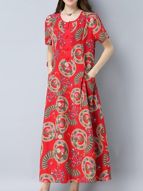 Red A-line Women Linen Short Sleeve Casual Floral Elegant Dress