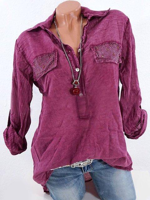 Cotton Elegant Long Sleeve Stand Collar Pockets Shirts & Blouse