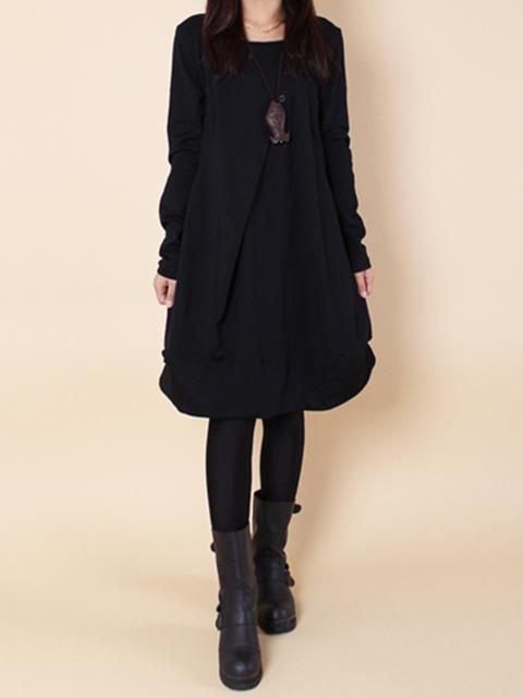 Women Daytime Long Sleeve Cotton Folds Plain Casual Dress
